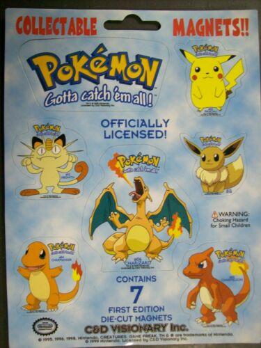 Pokemon 7 Magnets Charizard Charmeleon Charmander Pikachu Eevee Meowth