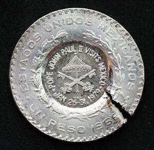 MEXICO-ERROR-1979-SILVER-PAPAL-PESO-BY-MEL-WACKS-for-POPE-JOHN-PAUL-039-S-VISIT-BU