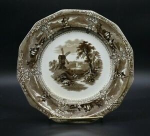 G-Wooliscroft-English-Staffordshire-Eon-Brown-Transferware-9-1-2-034-Dinner-Plate