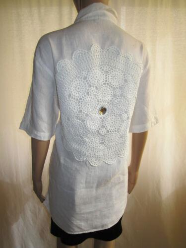 Trotter Globe Retro Ab57 Shirt Crochet White Sz Women Vtg Linen L Embellish Hand qqZrw6