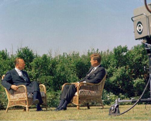 President John F Kennedy interviewed by Walter Cronkite 1963 New 8x10 Photo