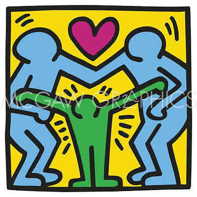 KH04 by Keith Haring Art Print Red Heart Dancing Love Pop Poster 11x14