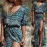 Bohemia Boho Floral Print Summer Lady Long Sleeve Maxi Beach Dress Sundress S-XL