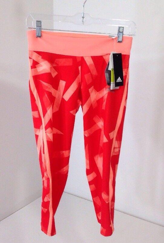 ADIDAS WOMEN'S RS 3 4 Q3 RUNNING TIGHTS RED orange LIGHT PEACH SMALL NWT