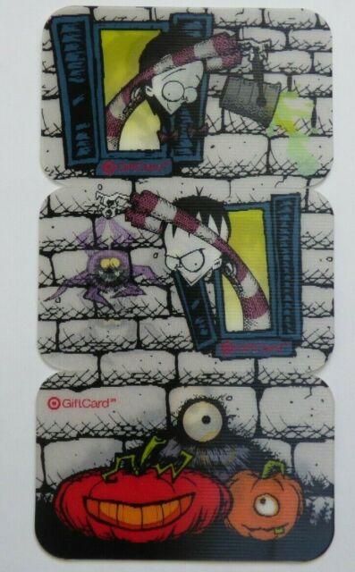 Target Gift Card Lenticular HALLOWEEN Scene - 3 CARD SET - 2007 - No Value -Cool