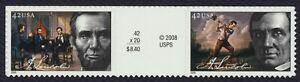 #4383a 42c Abraham Lincoln, Vertical Gutter Par [2] Cualquier 5=