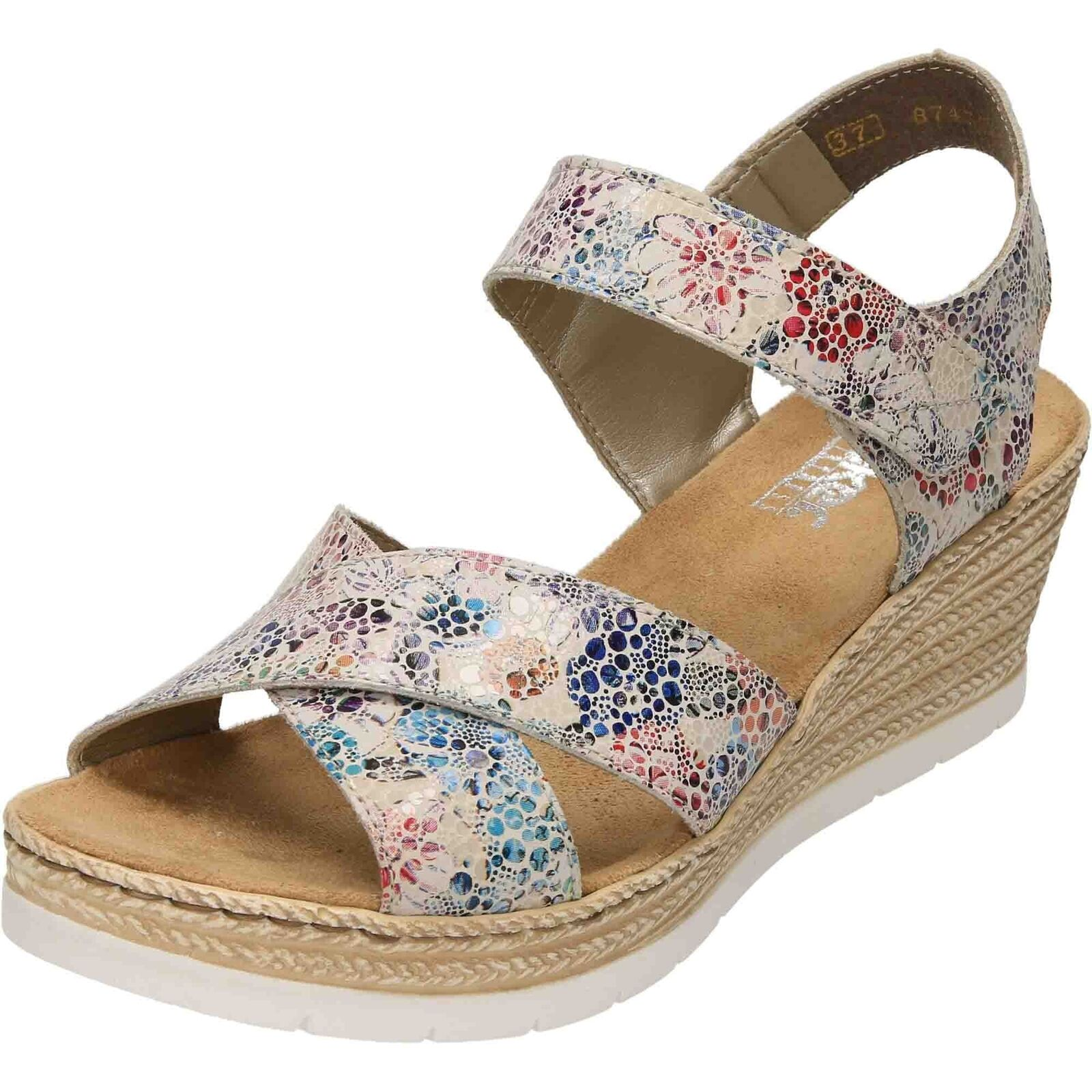 Rieker Wedge Heel Platform Leather Sandals 61943-90 Open Toe Slingback