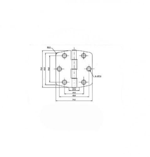 Scharnier Bisquit Square 75 mm x 74 mm x 2 mm mit Edelstahlabdeckung