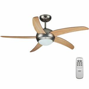 Ventilatore da Soffitto 5 Pale Legno con Lampada e Telecomando Diametro 120cm