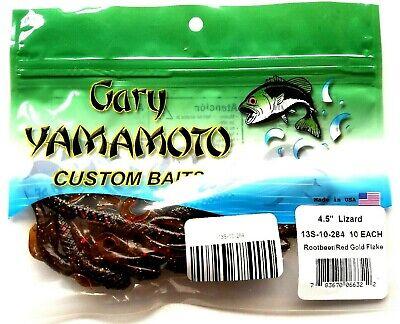 """gary yamamoto 4.5/"""" lizard green pumpkin black flake 13s-10-297 carolina rig"""