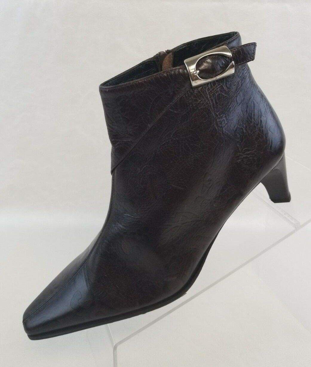 Phyllis Poland Ankle Boots Pointy Toe Zip Womens Brown Leather shoes Size 7B NEW