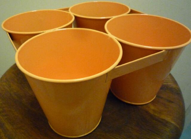 Metal Quad Planters Plant Pots X 6 Yellow Orange Indoor Garden Flower Pot New