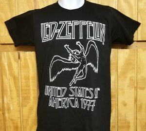 6f3fd23344a27 LED ZEPPELIN  ~UNITED STATES OF AMERICA 1977~ Black Graphic T-Shirt ...