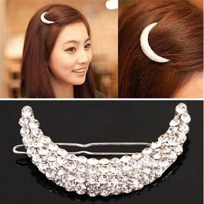 New Fashion Women Girl Jewelry Moon Crystal Rhinestone Clip Hair Pin Accessories