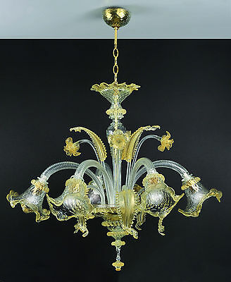 Ca' Venier Kronleuchter aus Murano-Glas 5-armig kristall gold