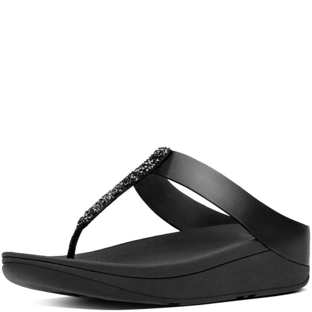FitFlop Fino Toe Black, Post Flip Flops,  Black, Toe Crystals, Women Size 5, $90 2858ec