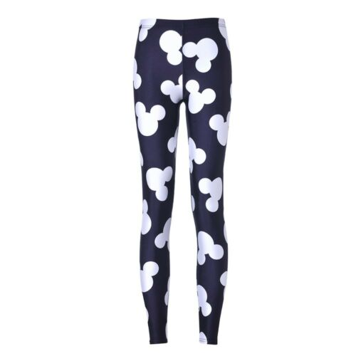girl leggings Pants Black on white Mickey head Printed Women Legging pant C0572