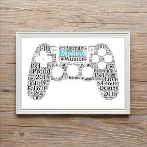 Image Is Loading PS4 Personalised Playstation Sony Word Art Print Gift