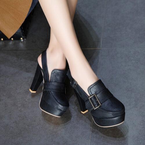 Vintage Pumps Womens Slingbacks Vogue Buckle Round Toe Platform Heels Shoes