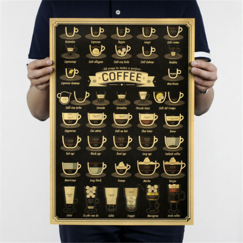 coffee cup bars kitchendrawing poster vintage poster retro wall sticker decor F4