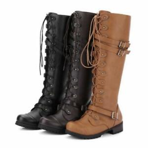 6d14a9ba3e8dd Womens Faux Leather Knee High Boots Ladies Flat Side Lace Up Winter ...