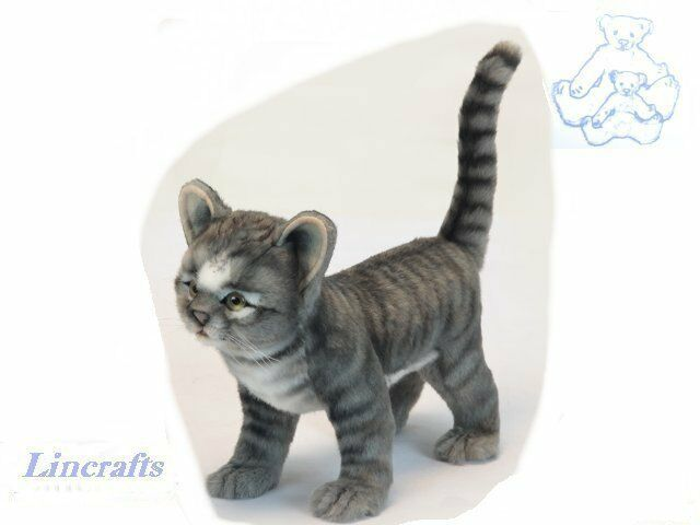 Hansa Standing Grey Kitten 6574 Soft Toy Cat Sold by Lincrafts Established 1993