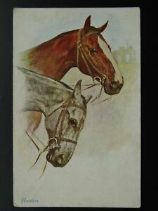Hunt-amp-Horse-Theme-039-HUNTERS-039-PORTRAIT-of-TWO-HORSE-c1920-Postcard-by-V-Mansell