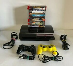 Sony PlayStation 3 Fat Console Bundle CECHH01 PS3 2 Controllers 14 games Family