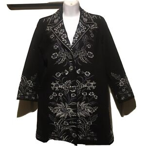"""Ali Miles Floral Embroderied Jacket Blue&Black30""""Long Buttons Lined"""