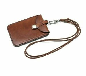 ID-Badge-Holder-Vertical-Style-Genuine-Leather-Cowhide-Card-Name-Card-Lanyard