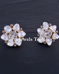Victorian Natural Diamond & Diamond Polki 925 Sterling Silver Earrings Jewelry