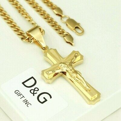 Best Gift   Men Black cuban jesus cross Stainless Steel Cross Pendant Necklace