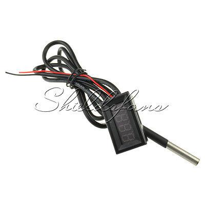 Red LED Digital Car Temperature Meter Thermometer -55-125°C DS18B20 Sensor F/C S