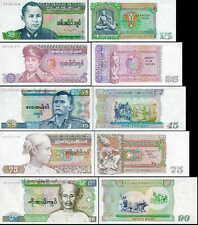 Burma (Myanmar) set of 5 notes 15 - 90 Kyats P62 - 66 AU/UNC