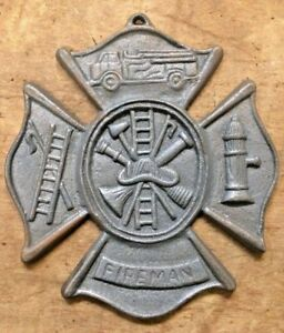 Fireman-Plaque-Maltese-Firefighter-Cross-cast-iron-sign-8-x-9-inches