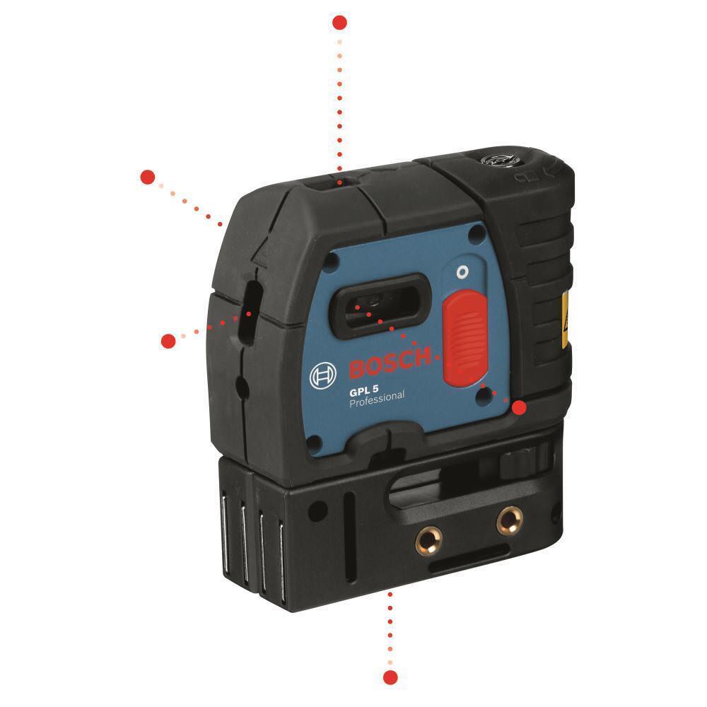 BOSCH Punktlaser GPL 5 Professional mit Tasche und Batterien, 30 m Reichweite