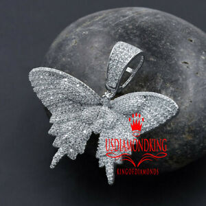 Details about  /Icy Flying Wings Butterfly Charm Real Yellow On Silver Simulated Diamond Pendent