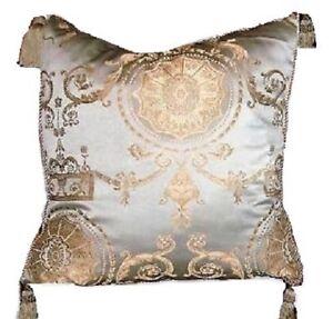 Regal-Baroque-Pillow-Blue-Gold-Decorative-Tassel-Trim-Glam-Home-Decor-Cushion