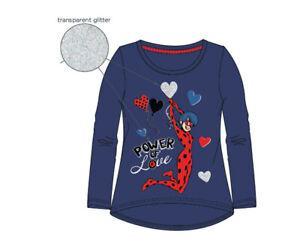 Miraculous-Ladybug-Langarmshirt-Maedchen-Gr-110-116-128-140-Blau-Glitzer-Neu-Ovp