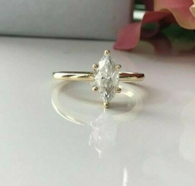 Delicate 14K White gold 1 Carat 5 X 10 MM White Marquise Cut Moissanite Ring