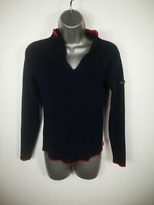 WOMENS-MADAME-93-NAVY-BLUE-KNITTED-FITTED-JUMPER-SWEATER-PULL-OVER-SIZE-LARGE-L