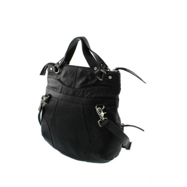 Bodhi Handbags 5473 Womens Eastside Black Leather Tote Handbag Medium Bhfo