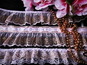Lovely white color  flower lace trim  = selling by the yard //select color//