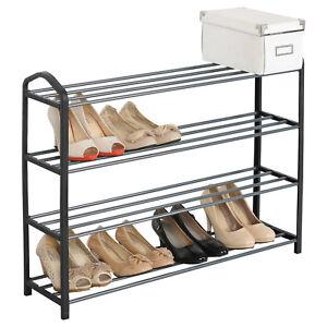 Details zu Schuhregal Schuh Ständer Ablage XXL 4 Ebene Schwarz DIY für Stiefel SR0020sz4
