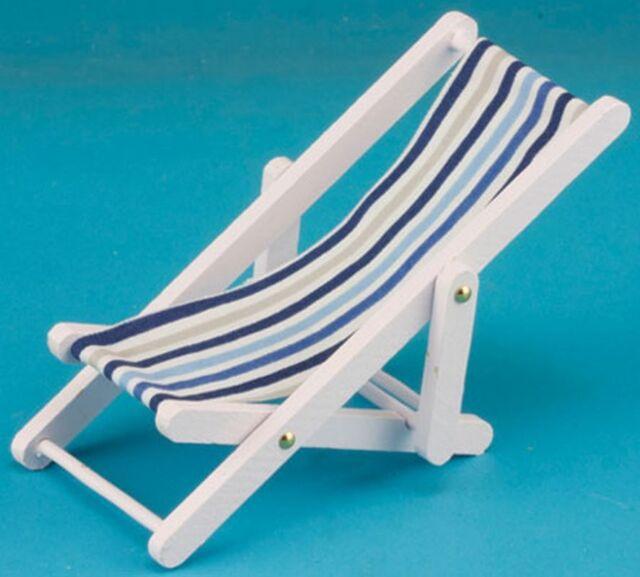 Dollhouse Miniature Beach Wood Folding Chair Blue Striped Fabric IM65338