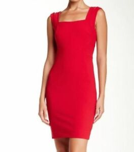Image Is Loading Nicole Miller Red Cut Out Back Seamed Sheath