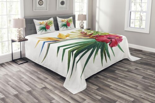 Wild Tropical Orchid Print Floral Quilted Bedspread /& Pillow Shams Set