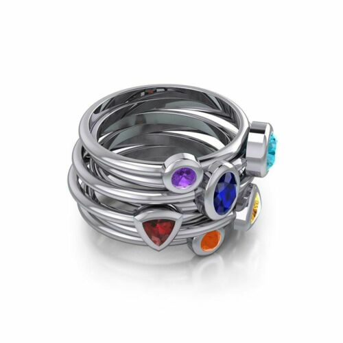 Ovale Chakra Gemstone Stack Gem Sterling Silver Ring par Peter Stone Fine Jewelry