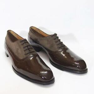 Bespoke-Patent-amp-Calf-Suede-Leather-Men-Oxford-Brown-Dress-Party-Shoes-Handmade