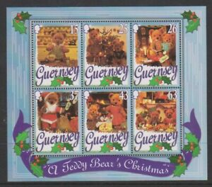 Guernesey-1997-Noel-Nounours-Ours-Feuille-MNH-Sg-MS753